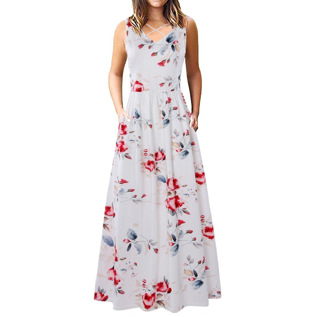 Women fashion Dresses Women Sleeveless Racerback and Long Sleeve Loose Plain Maxi Dresses Casual Dress - African Clothing Online