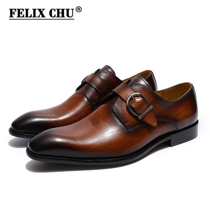 1d2630b7d0c FELIX CHU European Style Handmade Genuine Leather Men Brown Monk Strap Formal  Shoes Office Business Wedding