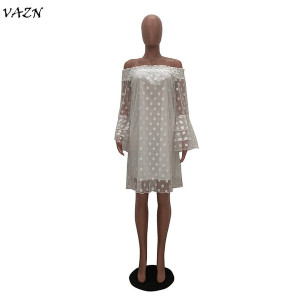 VAZN 2018 New Arrive Famous  Sexy Style Women Dress Solid Slash Neck Lace Petal Sleeve Bodycon Mini Dress Vestido TS829 - African Clothing Online