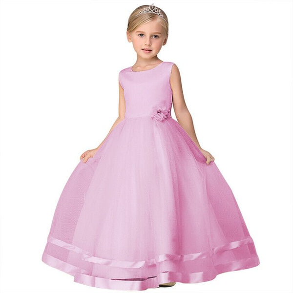 Elegant 2018 New Summer Flower Girl Dress Kids Baby Teen Wedding Party Princess Dress Prom Ankle-Length Floral Ball Gown Dress - African Clothing Online