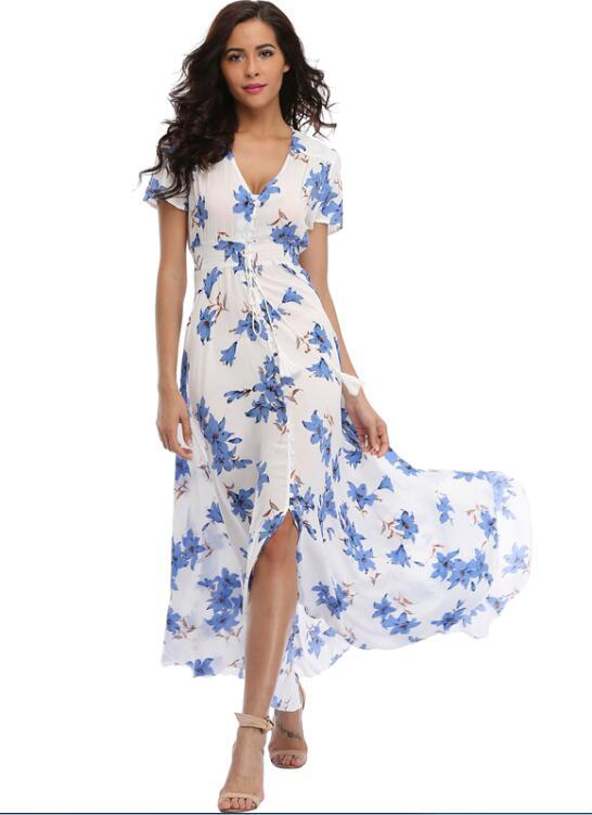 african-clothing-online,2018 Long Summer Floral Maxi Dress Women Flower Print Casual Split Beach Dress Ladies Elegant Cotton Vintage Boho Party Dresses (S-M),fireselldeals,