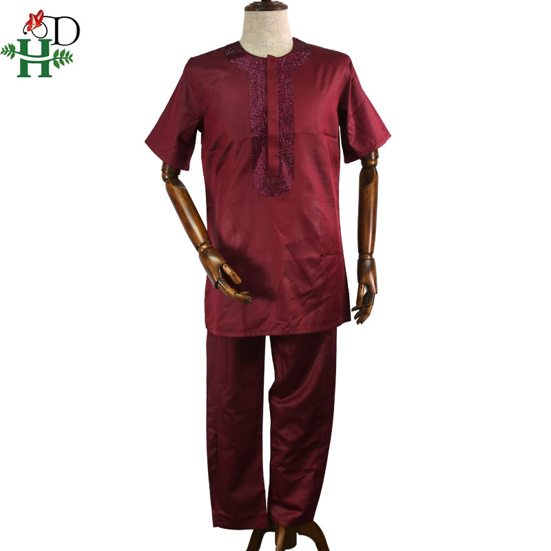 H&D african agbada men clothes suits robe tops pant 3 pieces set african traditional men's dashiki clothing with rhinestones - African Clothing Online