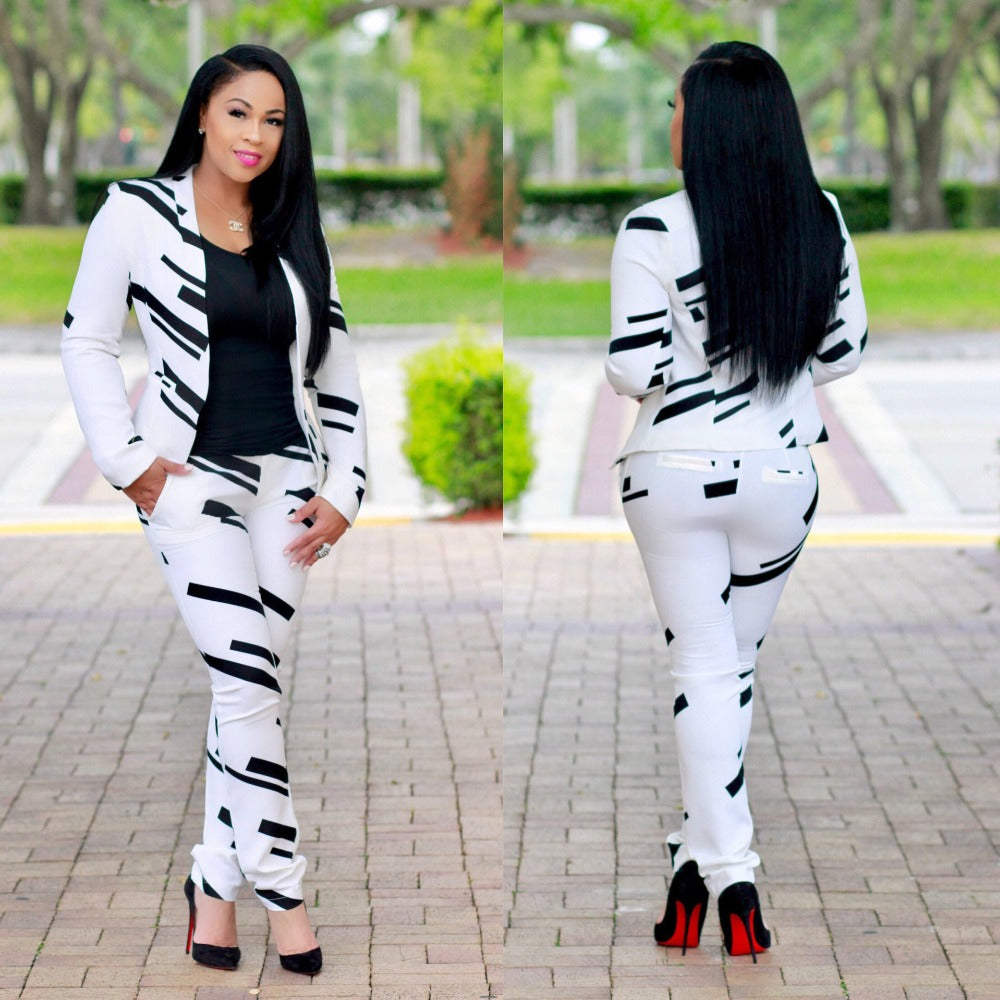 New style African Women clothing Dashiki fashion Print Black and white classic cloth two piece  coat + pants size S M L XL  afcol160 - African Clothing Online