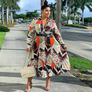 Plus Size African Clothes Women Summer Maxi Dress Vintage Belt Print Long Sleeve Boubou Africain Femme Vestidos 2020
