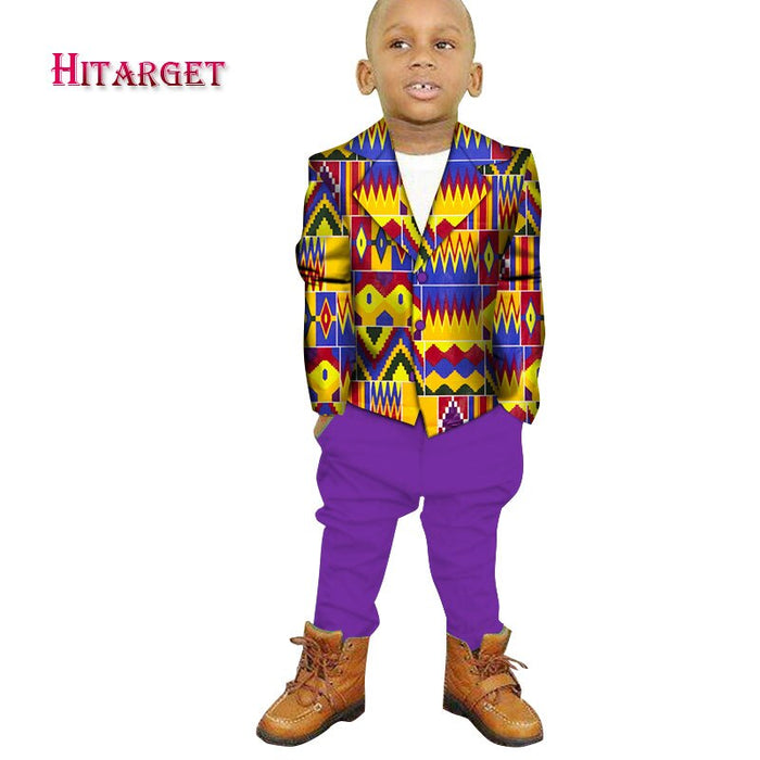 Danshiki african children clothing for boys top +pants suits Wedding Costume enfant Garcon mariage Boys Blazer two pieces afcol410b