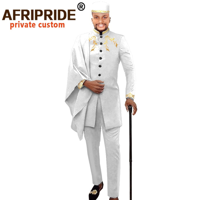 African Men Clothing for Party Wedding Dashiki Printed Coats Ankara Pants and Hat 3 Piece Set  Suit AFRIPRIDE afcol417b