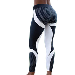 Hayoha Mesh Pattern Print Leggings fitness Leggings For Women Sporting Workout Leggins Elastic Slim Black White Pants - African Clothing Online