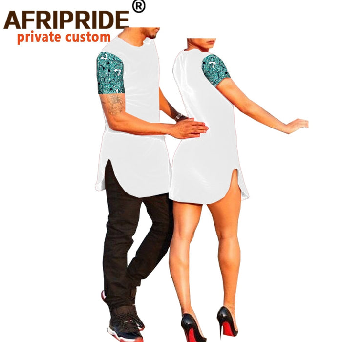Couple clothes AFRIPRIDE short sleeve o-neck men's T-shirt+women mini dress casual suit afcol412