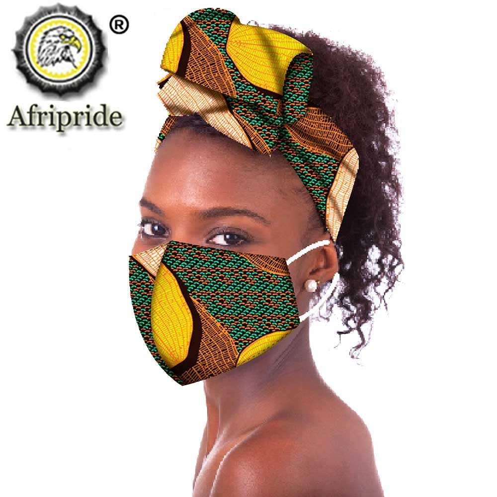 African Headwraps Fashion Ankara Print Cotton Headband Bonnet Line Hair Reversible African Headscarf Mask Match Print afcol374