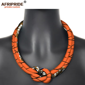 2020 African Statement Necklace Wedding Resin Beads Jewelry Dashiki Ankara Fabric Choker Necklace for Women AFRIPRIDE S006