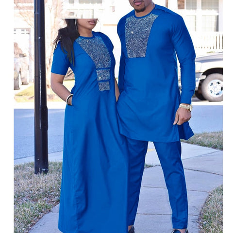 H&D african couple clothes suits long dresses for women african men dashiki shirt pant set 2020 new clothing with shining stones