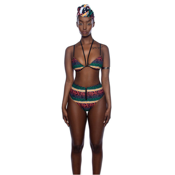 High Waist Bikini African Style Swimwear Women Tribal Swim Bathing Suit Triangle Bikini Bandage Two Piece Swimsuit Female Badpak - African Clothing Online