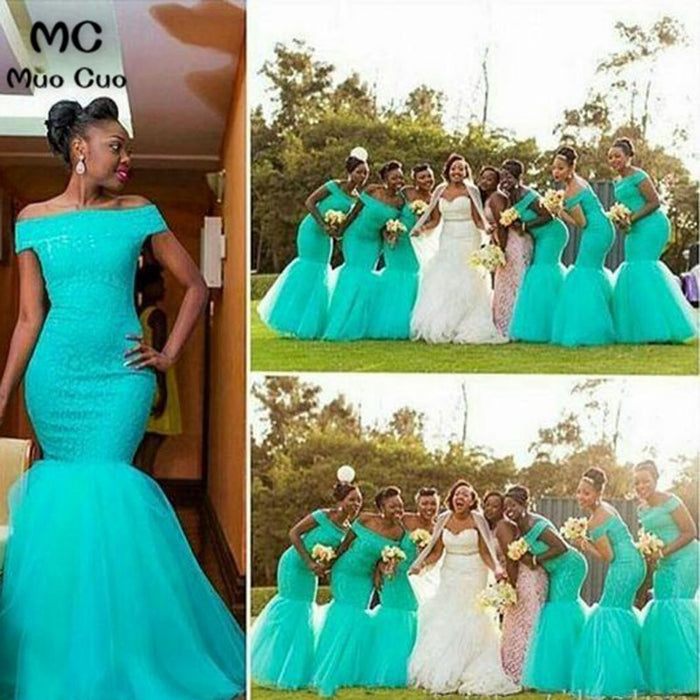 Hot South African Nigerian Bridesmaid Dresses Mermaid Maid Of Honor Gowns For Wedding Off Shoulder Turquoise Bridesmaid Dress