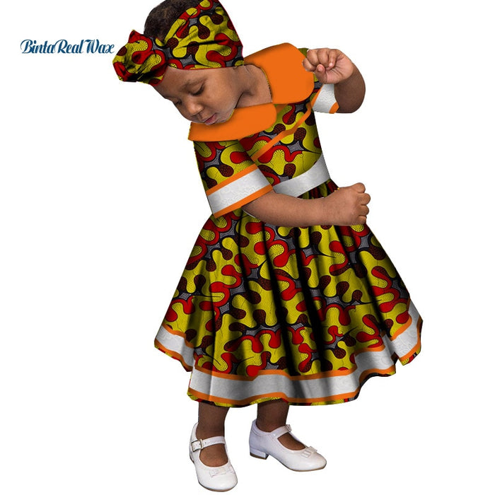 Lovely Girls Peter Pan Collar Lace Dresses Bazin Riche African Print Ankara Dresses for Kids Children African Clothing afcol211
