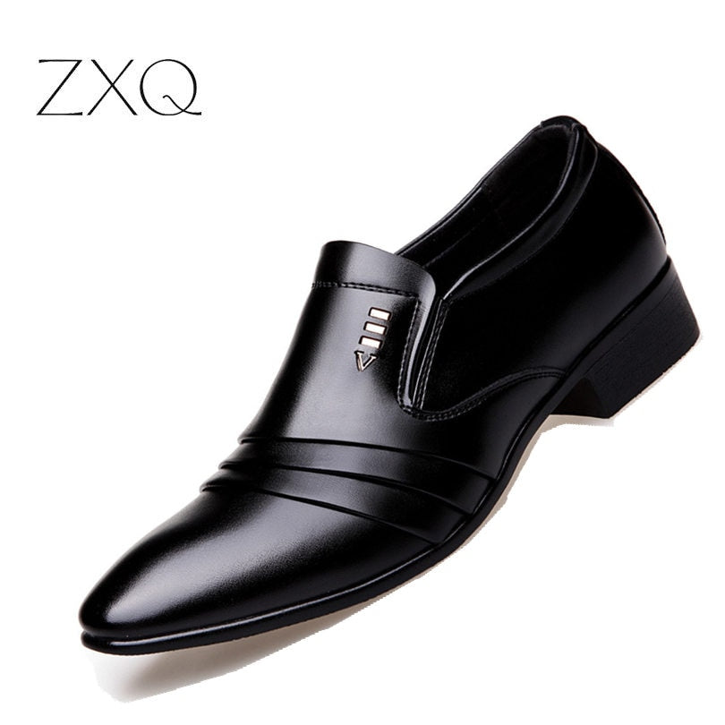 Luxury Leather Men Business Wedding Dress Shoes Lace Up Breathable Oxfords Shoes Pointed Toe Zapatos Hombre