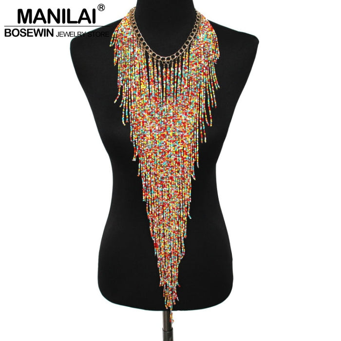 MANILAI Bohemian Style Design Women Fashion Charm Jewelry Resin Bead Handmade Long Tassel Statement Link Chain Choker Necklace