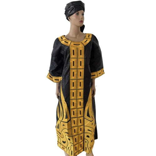 Md 2019 New Design Cotton African Clothes Bazin Riche Dress For Women Traditional Embroidery Dresses Turban African Women Sets African Clothing Online