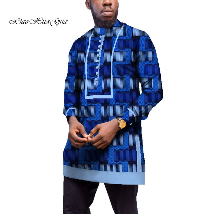 Men Long Sleeve Shirt Traditional African Clothing Bazin Riche Tops Men Casual African Print Long Shirt Coat afcol245