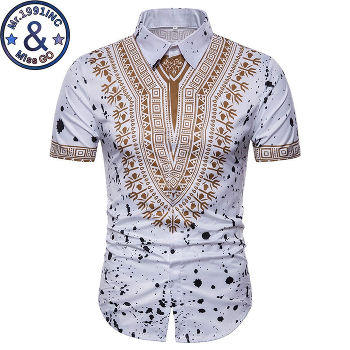 Mens Hipster African Dashiki Social Shirt 2018 Brand New Slim Short Sleeve Dress Shirts Men Summer Causal Shirt Chemise Homme  afcol208