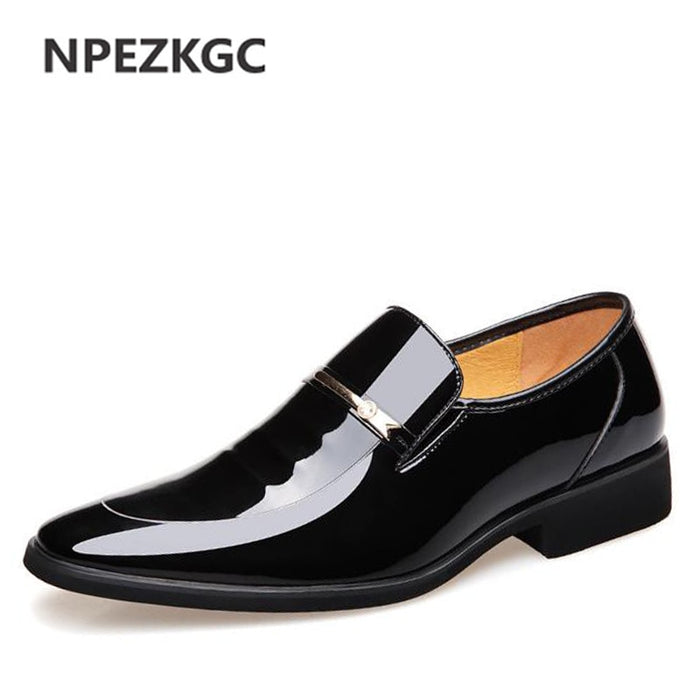 NPEZKGC Brand High Quality Men Oxford Men Leather Dress Shoes Fashion Business Men Shoes Men Dress Pointed Shoes afcol272