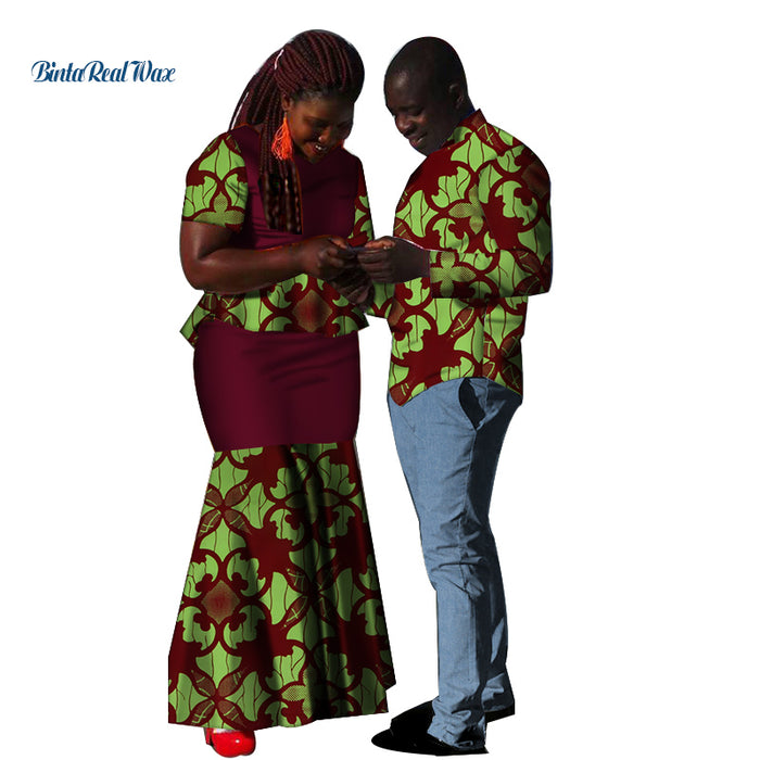 New African Lover Couples Clothes Bazin Riche Mens Shirt and Pants Sets Women Top and Skirts Sets African Design Clothing WYQ132