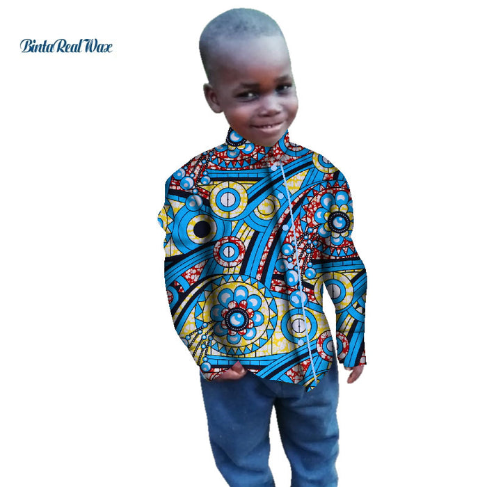 New Boy's Shirts Tops Bazin Riche African Wax Print Ankara Shirt 100% Cotton Shirt for Boys Children Kids African Clothes WYT269