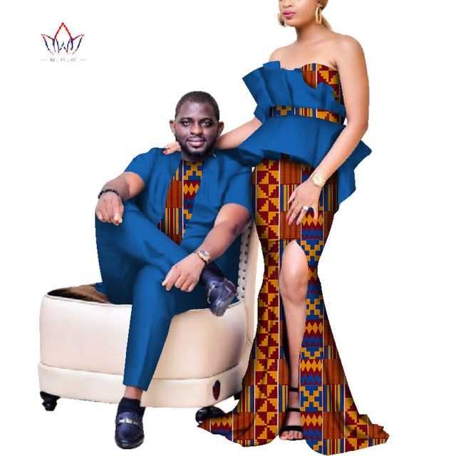 New Elegant Women Mermaid Dresses Couples Clothing African Print Dresses  Plus Size Dashiki Mens Set for Lover WYQ233
