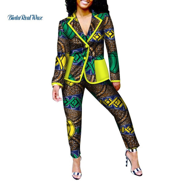 New Office Women Clothes African Print Patchwork Turn-down Collar Suit and Pants for Women Bazin Riche 2 Pieces Pants Sets WY009 - African Clothing Online