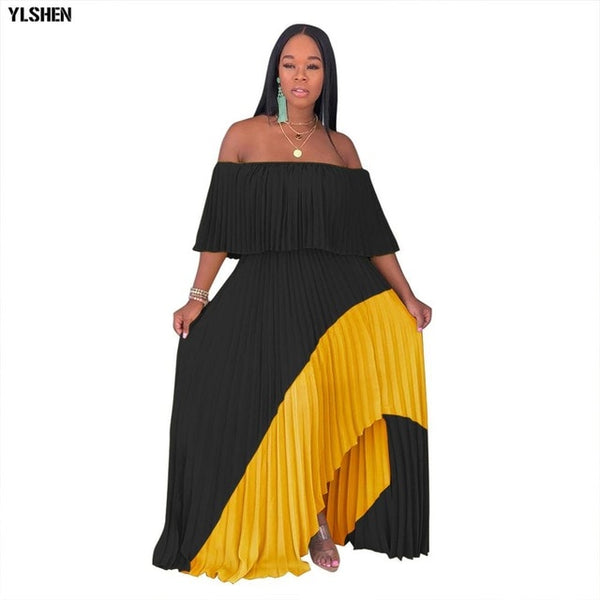 New Style African Dresses for Women Dashiki Off shoulder Pleated African Dress Clothes for Ladies Chiffon Long Africa Maxi Dress
