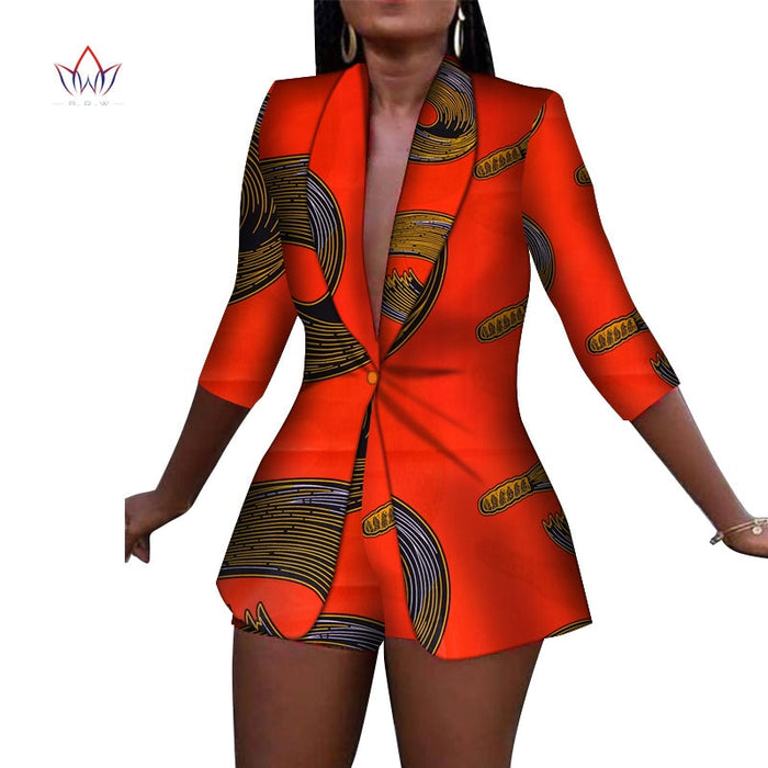 New Women Suit and Short Pants Sets Bazin Riche African Clothes 100% Cotton Print 2 Pieces Sets Women African Clothing afcol238 - African Clothing Online