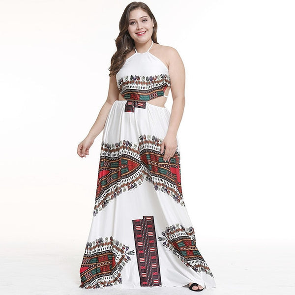Plus Size Sexy African Dashiki Print Maxi Dress Women's Back Open Strappy Halter Neck Clothes Sleeveless Dress For Ladies 3XL - African Clothing Online