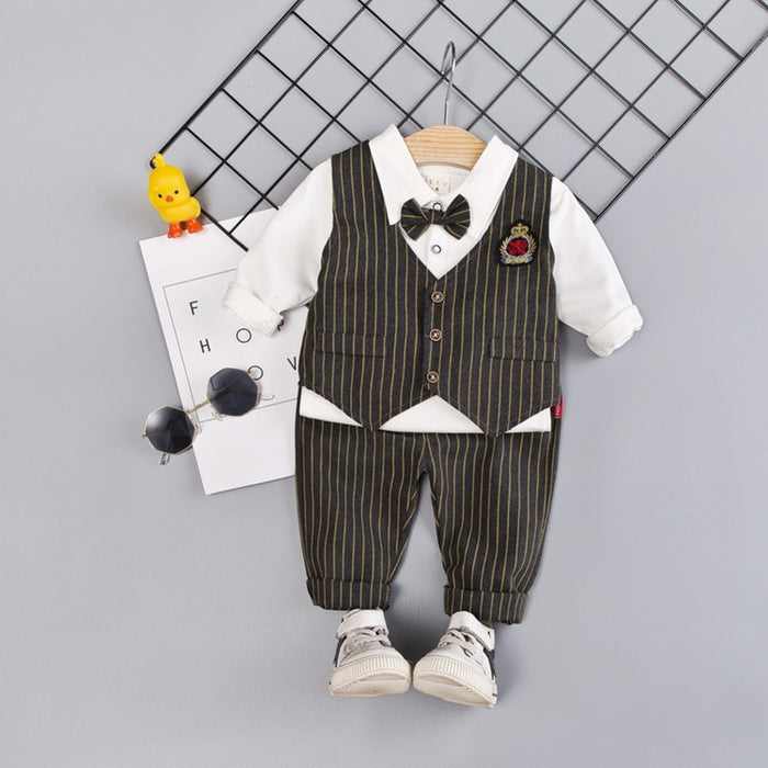 Summer Kids Boys Clothes Sets Gentleman Baby Shirt+Pants+Vest Toddler Boy Clothing Kids Outfits with Bow 0-3Y
