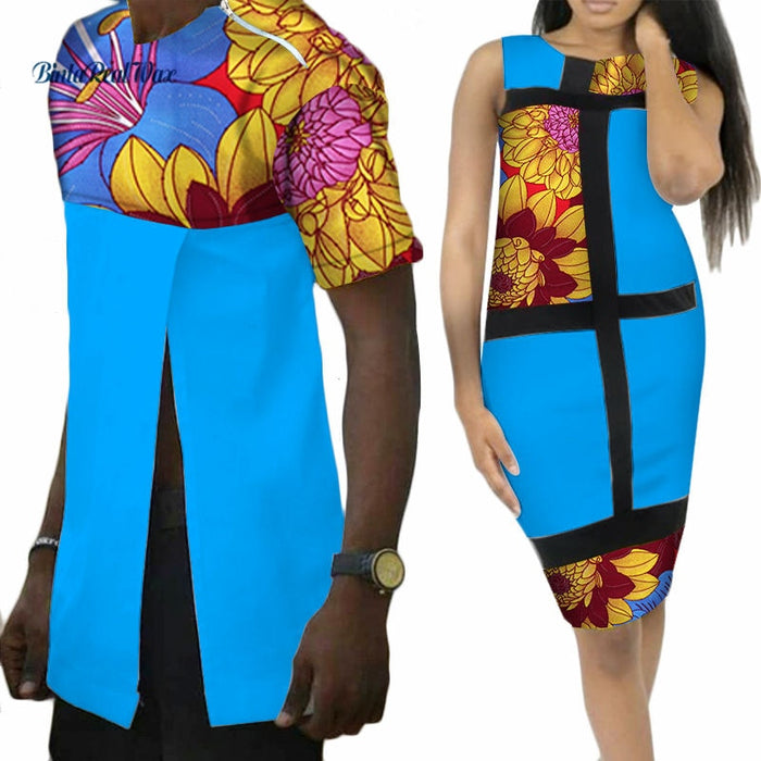 Sweet Lover Couples Clothes African Print Patchwork Dresses for Women Bazin Riche Mens Long Shirts African Style Clothing WYQ42