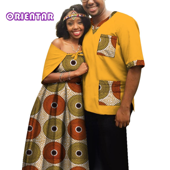 Traditional African Clothes for Couples Men Women African Print Long Dress Tops T Shirt Casual Ball Gown Lover Clothing afcol150