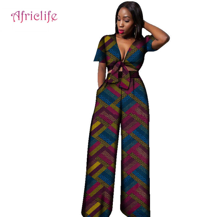 Traditional African Clothing New Arrival Cotton 2019 Fashion African Women Pant Suit Print Lady Crop Top and Pant WY1861 - African Clothing Online