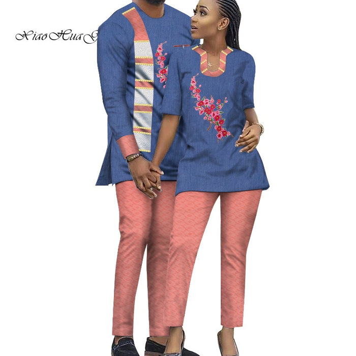 Two Piece Set African Dashiki Print Couple Clothing for Lovers Men's Suit Plus Women's Suit Tops and Pant Set WYQ232