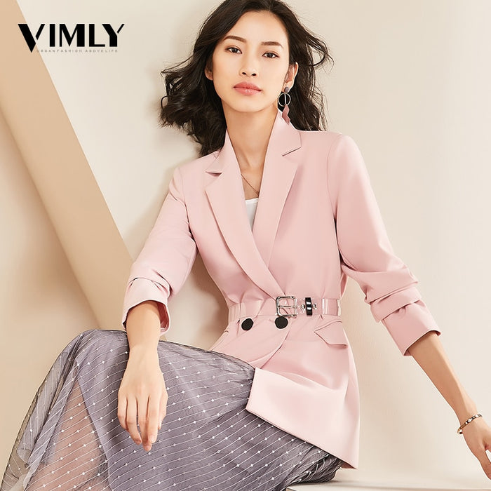 Vimly Women Chic Solid Blazer Elegant Office Suit Top Pockets Double Breasted Long Sleeve OL Wear Coat Female Casual Outerwear - African Clothing Online