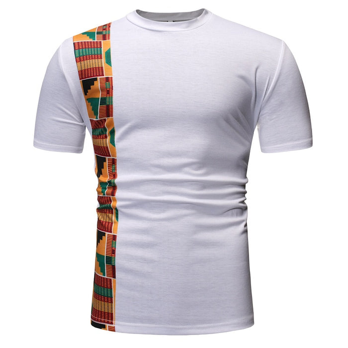 White Patchwork African Dashiki Print T Shirt Men 2019 Brand New Short Sleeve Tee Shirt Homme Streetwear Casual African Clothes