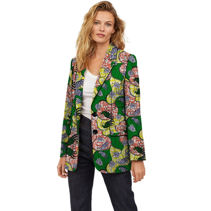 Women African Clothing Blazer Coat Ankara Fashion Pattern Printed Suit Jacket Custom Made Female Dashiki Clothes - African Clothing Online