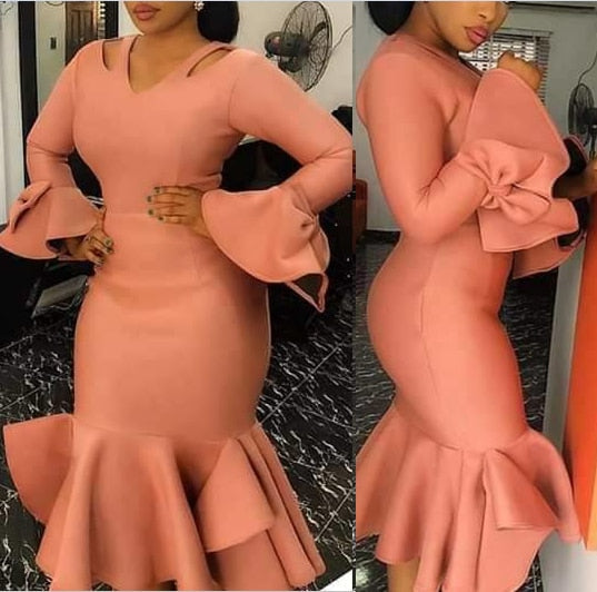 Women Bodycon Party Dress Hollow Out Shoulder Ruffles Long Sleeves with Bowtie Elegant Slim Evening Dating Robes afcol249