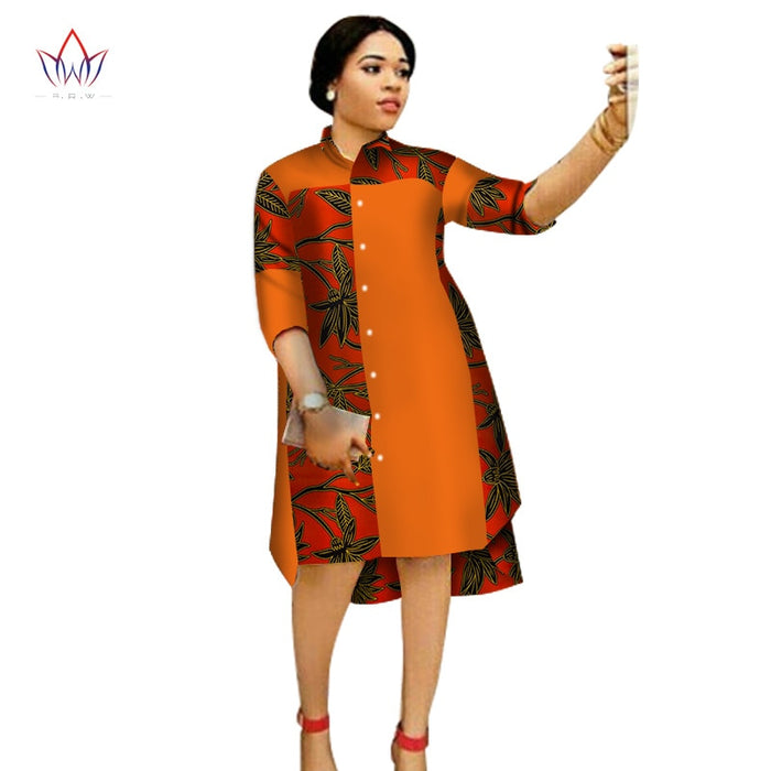 Women Maxi Dress African Print Dresses for Women Three-Quter Sleeve Dress Women Print Clothing Plus Size 6XL afcol263