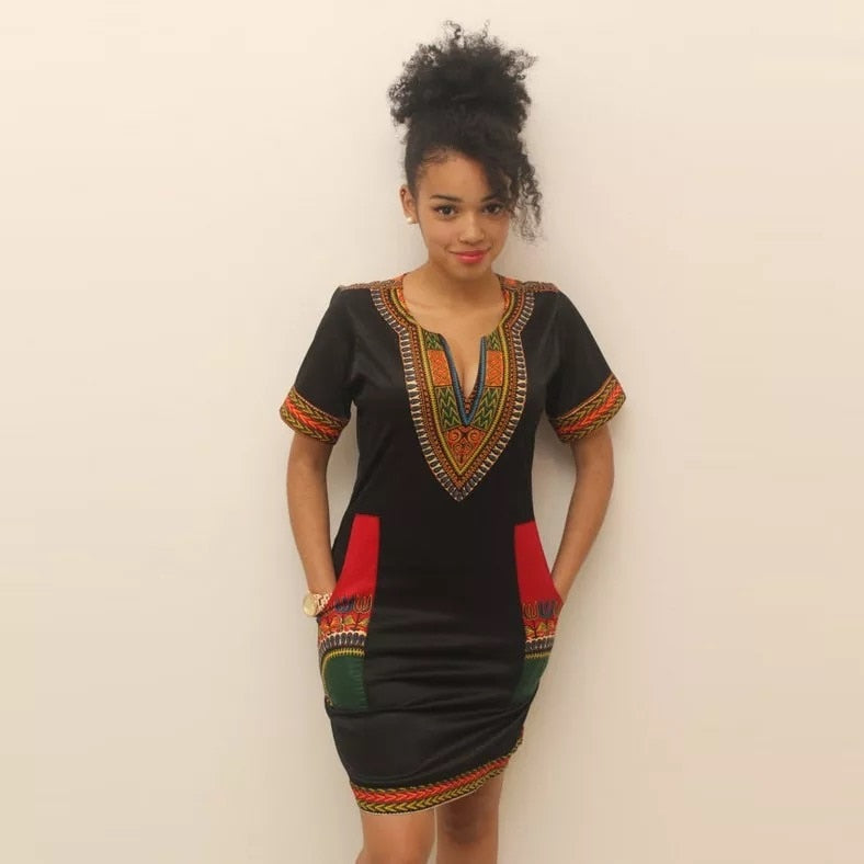 Women Summer Dashiki Pocket Design Black Homecoming Pencil Dress Lady Mini V-Neck African Bodycon Short Sleeves Shirt Dress S-XL - African Clothing Online