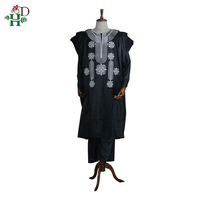 Africa men dashiki bazin riche suits tops shirt pant 3 pieces set