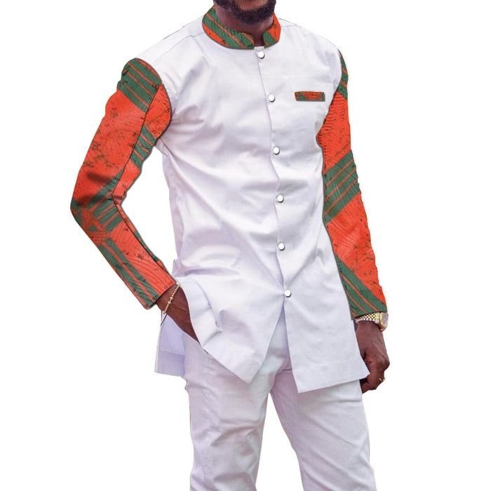 African men shirts and pant for men set traditional clothing round neck long sleeve sets