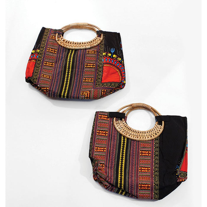 Tribal Print Wicker Handle Bag