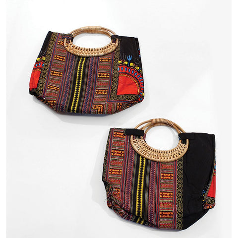 Tribal Print Wicker Handle Bag - African Clothing Online