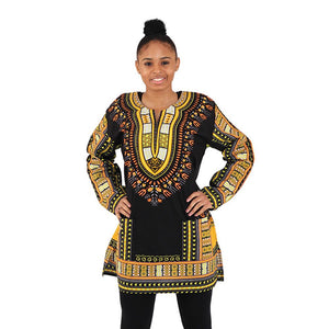 Traditional Print Long-Sleeve Dashiki - African Clothing Online