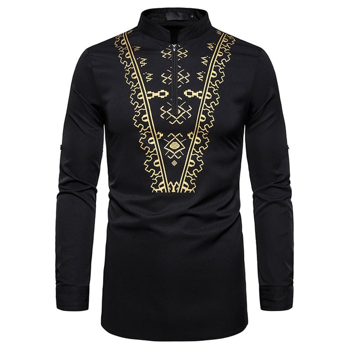 Men's Fashion Leisure African Style Printing Long-sleeved Shirt Top