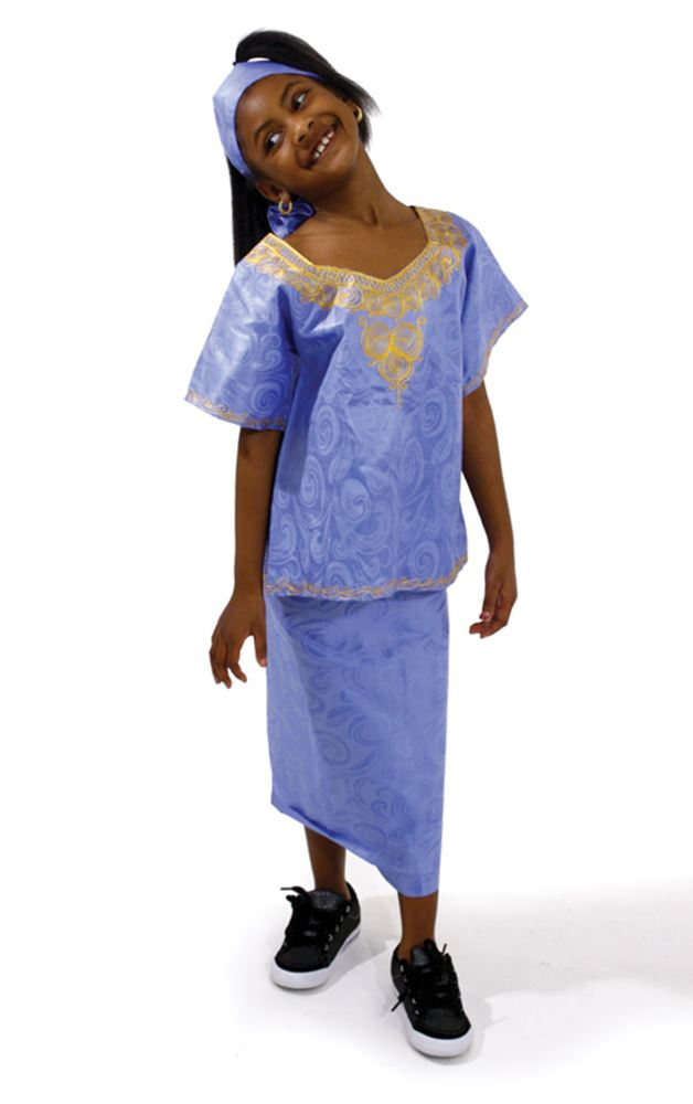 Girl's Embroidered Brocade Set - African Clothing Online