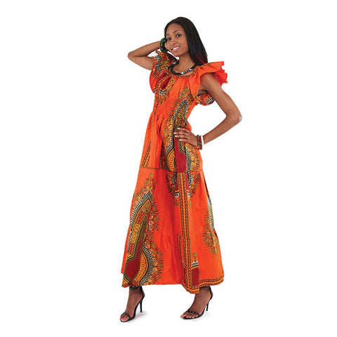 Traditional Print Elastic Princes Dress - African Clothing Online